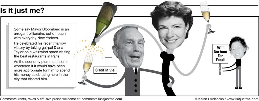 Mayor Bloomberg celebrates his slim election victory.